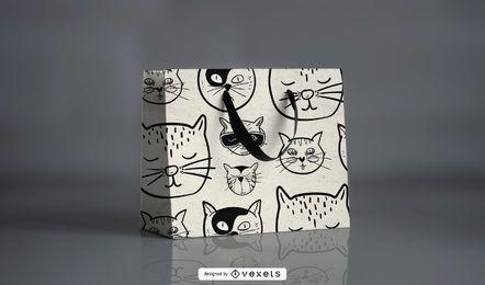 Cartoonish Cat Pattern Design