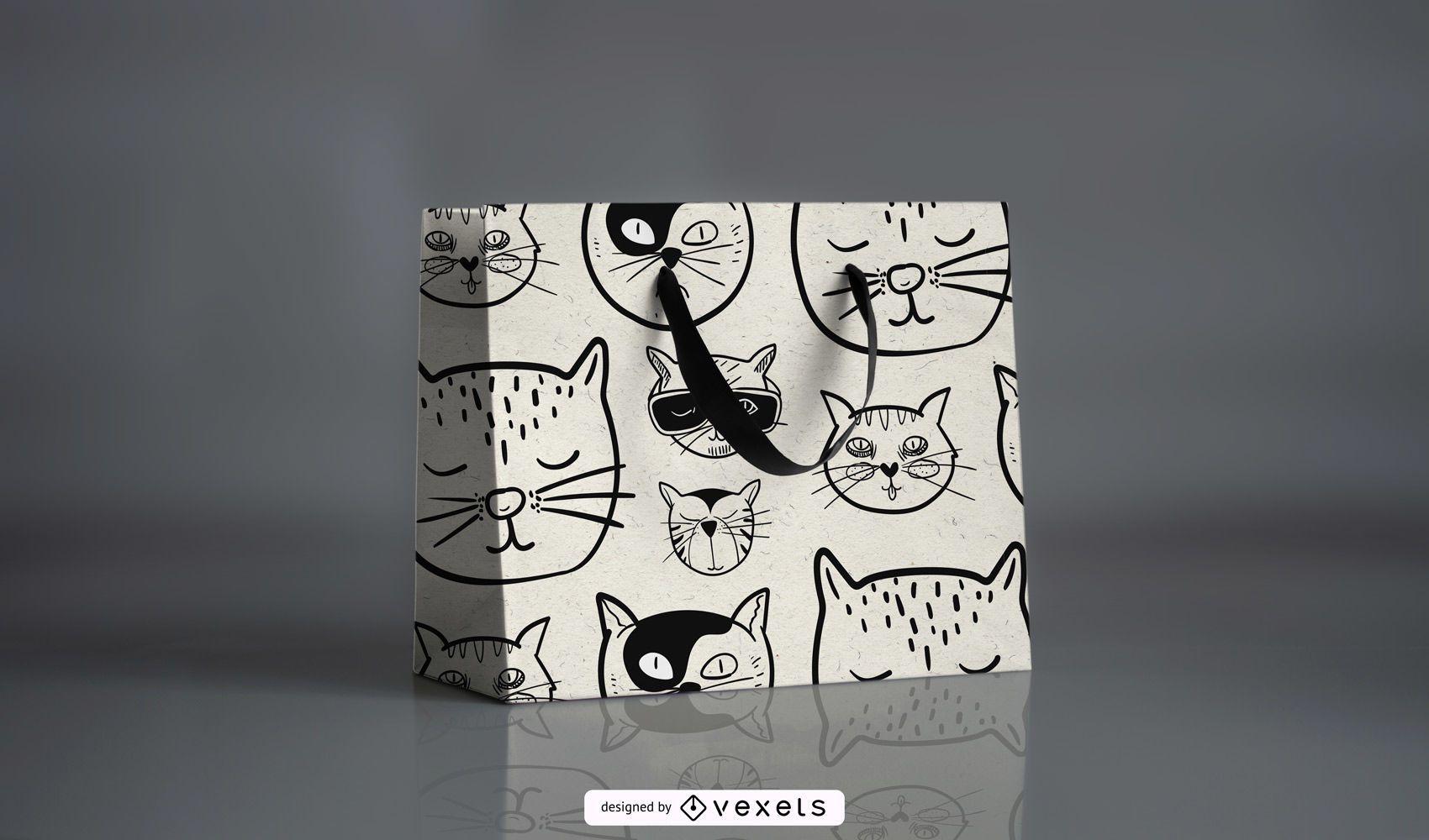 Desenho de padrão de gato de desenho animado