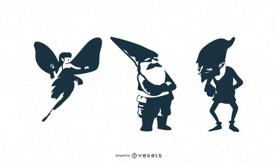 Silhuetas de personagens de fantasia