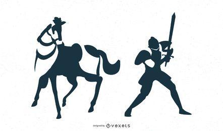 Diseños vectoriales de caballero y caballo