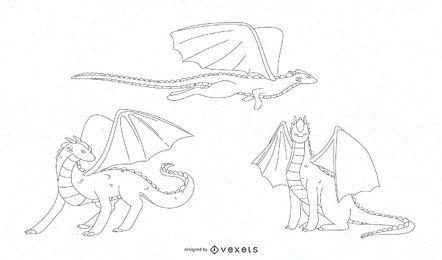 Vetor de linha de dragão