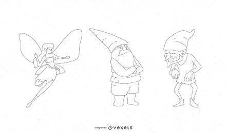 Conjunto de vetores de personagens de fantasia