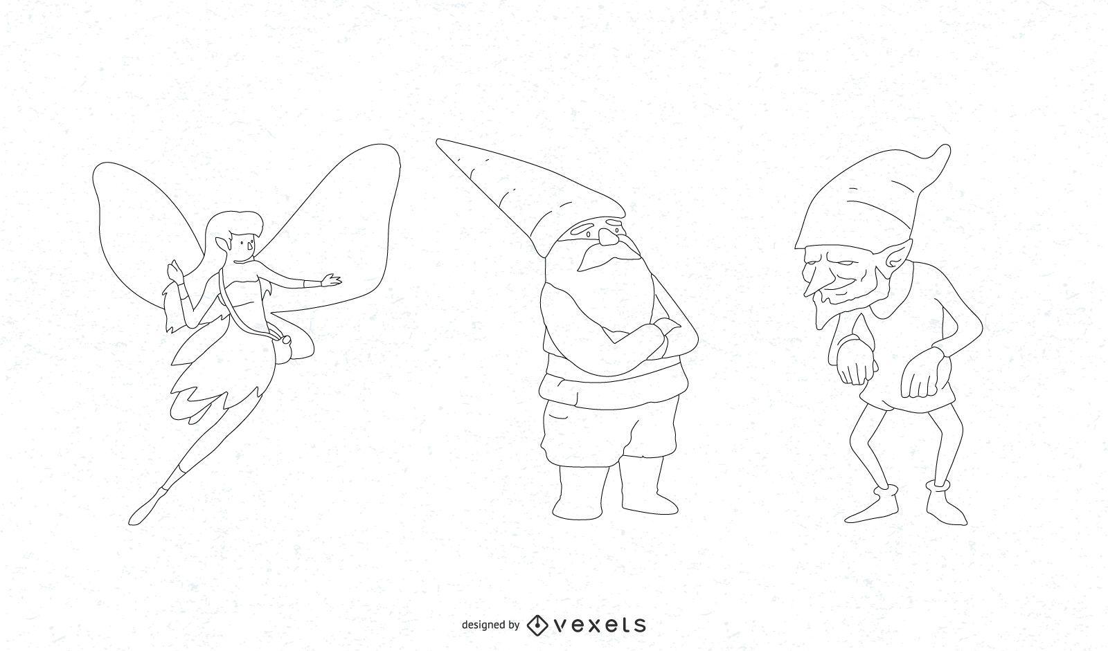 Conjunto de vectores de personajes de fantasía