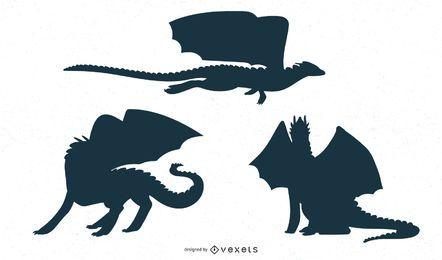 Desenho de silhueta de dragão