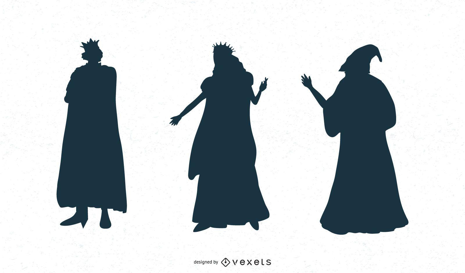 Conjunto de silueta de personajes de fantasía