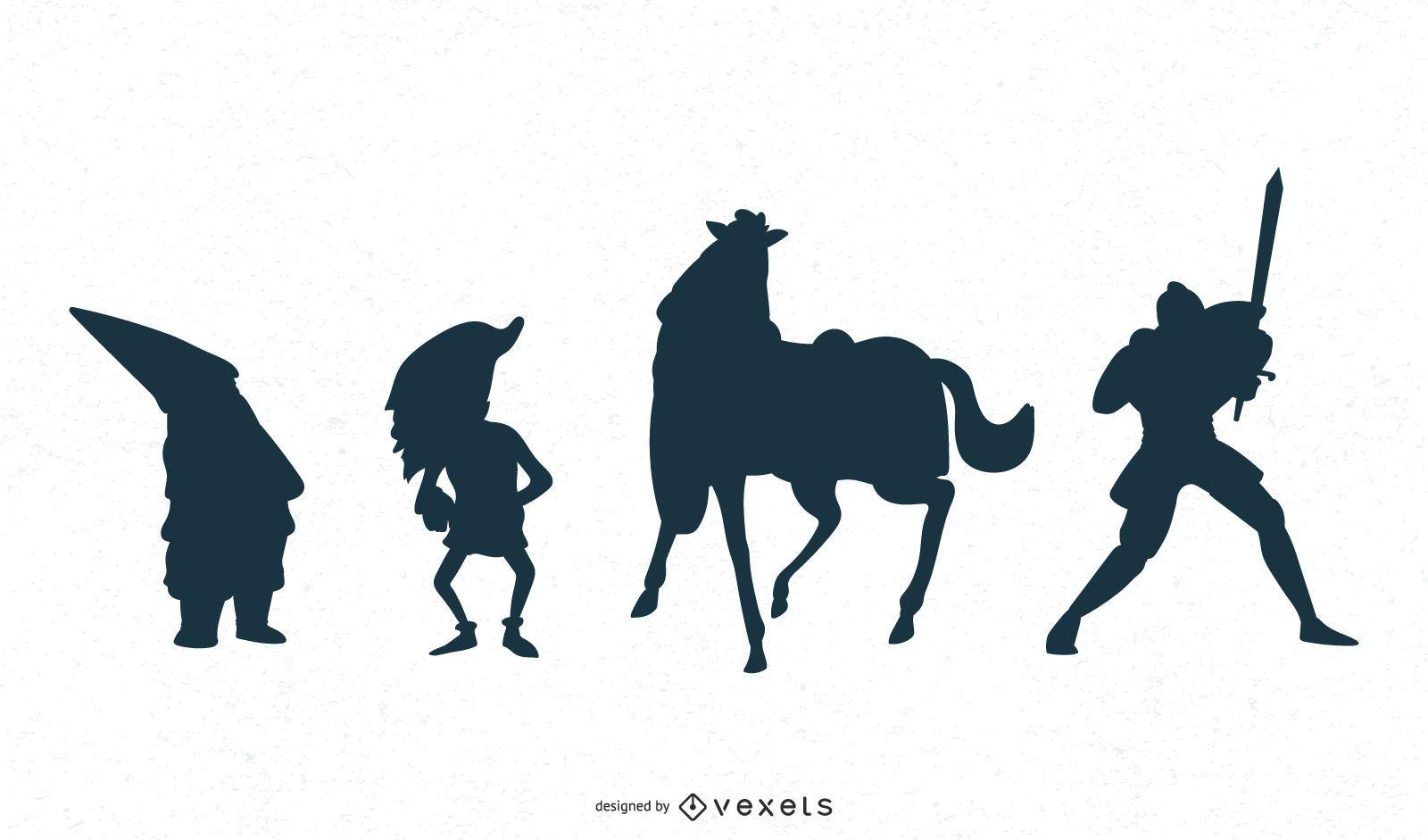 Diseño de silueta de personaje de fantasía