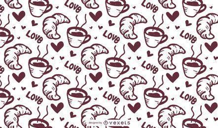 Patrón de café croissant