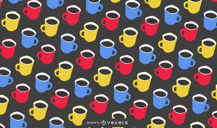 Seamless Coffee Mug Pattern Design