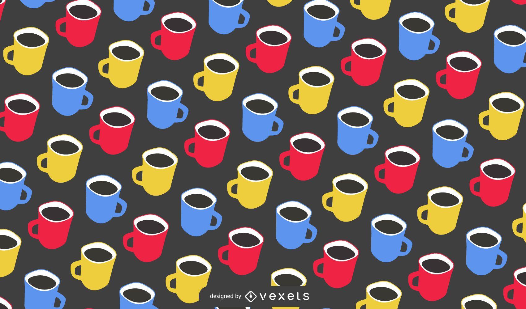 Seamless Coffee Mug Pattern Design