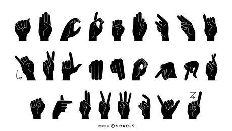 Lenguaje de señas alfabeto silueta