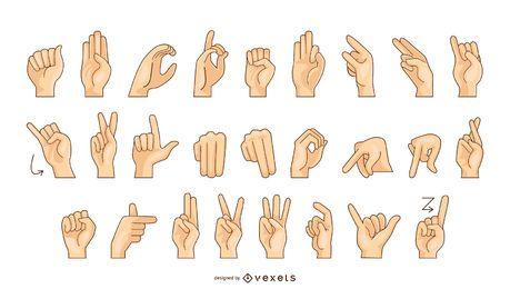 Tabla de vector de alfabeto de lenguaje de señas