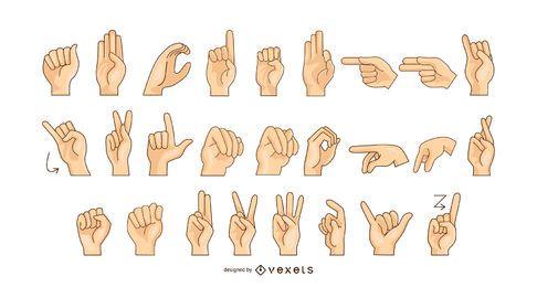 Gráfico de vetor do alfabeto em linguagem de sinais