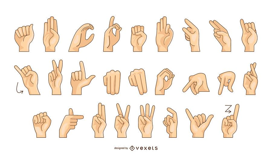 Sign Language Alphabet Vector Chart