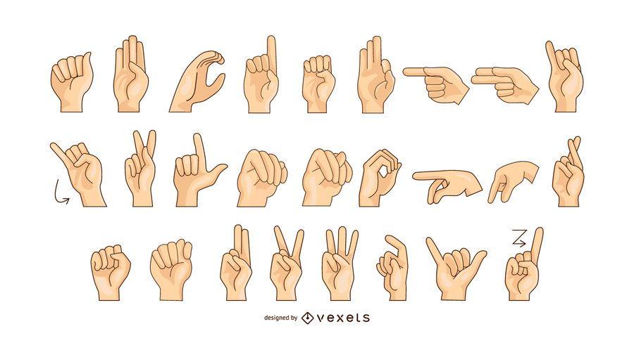 Gráfico de vetor de alfabeto de língua de sinais
