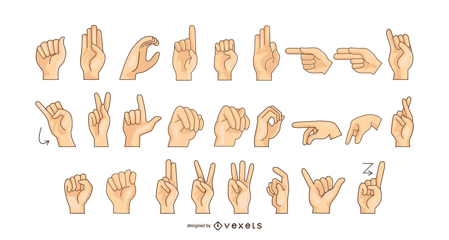 Gr?fico de vector de alfabeto de lenguaje de se?as