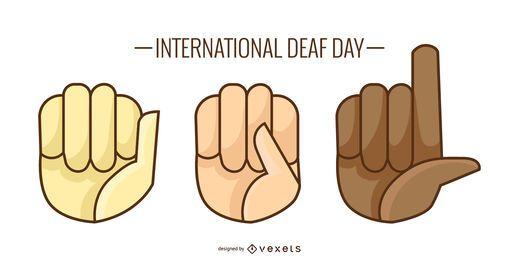Diseño de ilustración de día de sordos