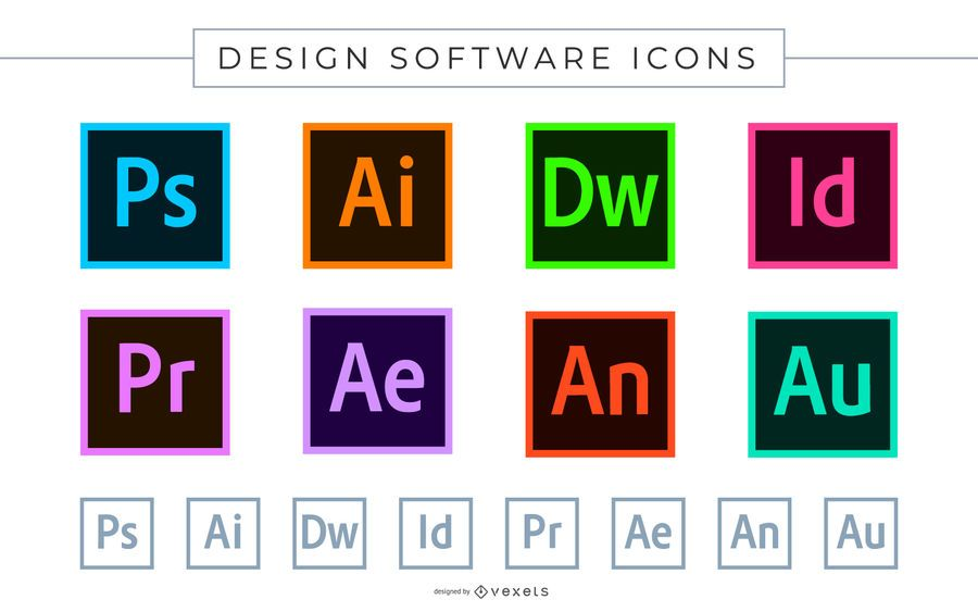 Iconos de software de Adobe