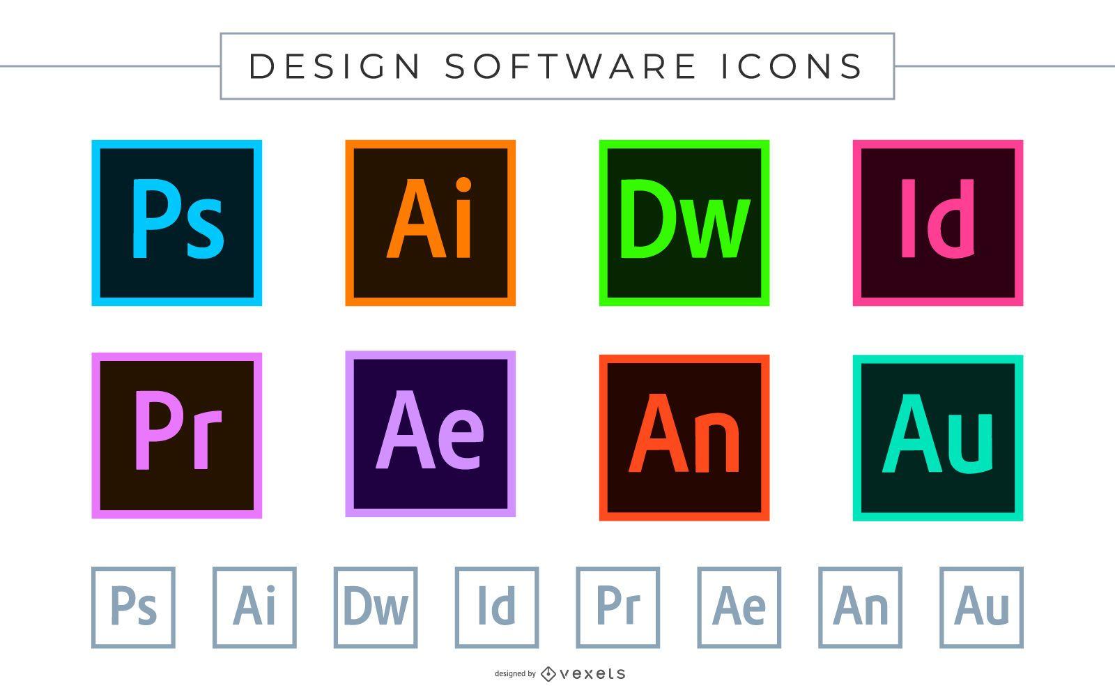 Iconos de software de Adobe