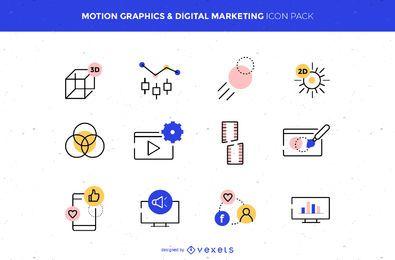 Pacote de ícones de marketing digital