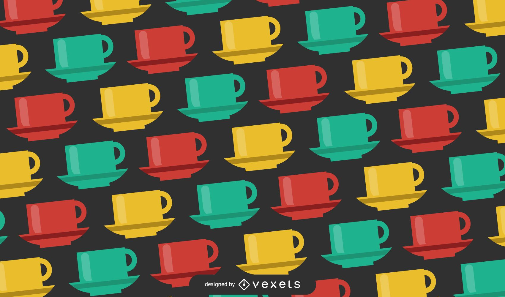 Diseño de patrón de tazas multicolores