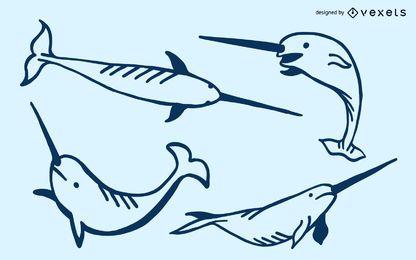 Narwhale Doodle Set