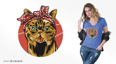 Bandana-Katzen-T-Shirt Entwurf
