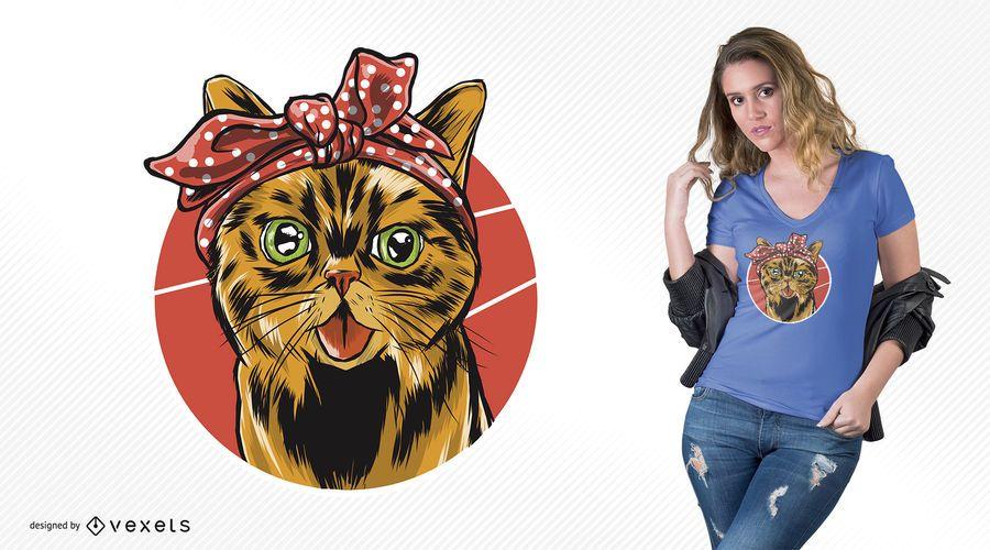 Diseño de camiseta de gato bandana