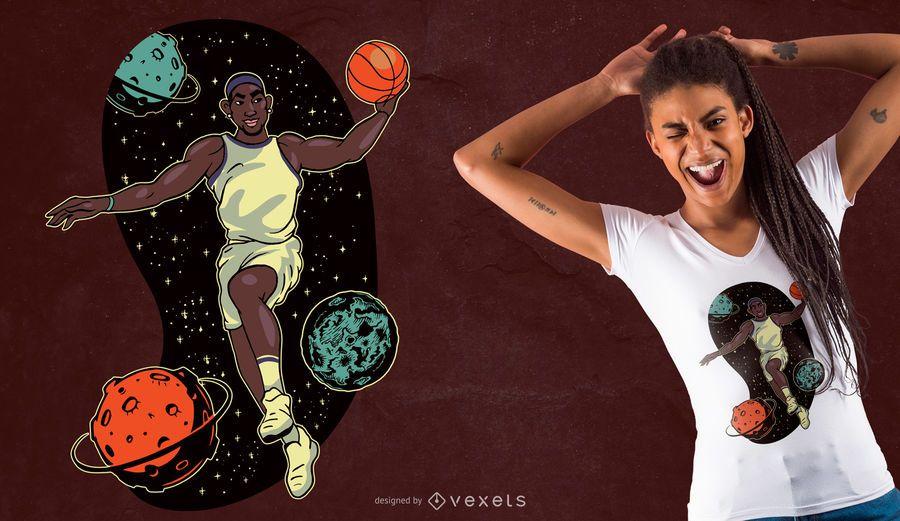 Projeto do t-shirt do basquetebol do espaço