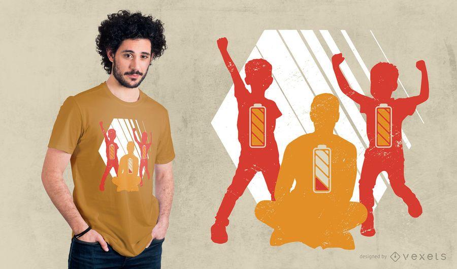 Projeto do t-shirt do pai da baixa bateria