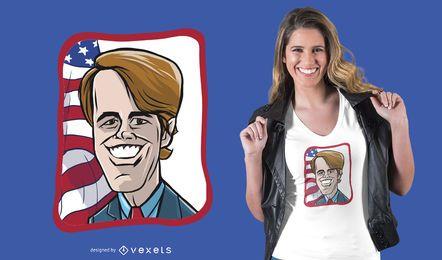 Projeto do t-shirt dos desenhos animados de Beto O Rourke