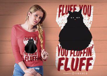 Flauschige Katze T-Shirt Design
