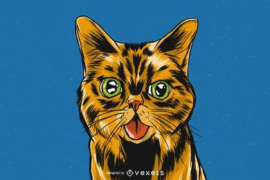 Diseño de ilustración de gato realista