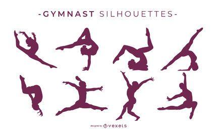 Colección de silueta de gimnasta