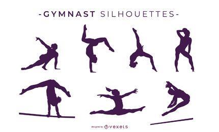Diseño de siluetas de gimnasta.