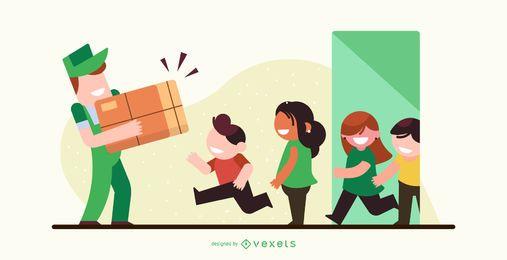 Diseño de ilustración de entrega de paquete