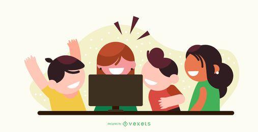 Niños viendo dibujos animados de diseño