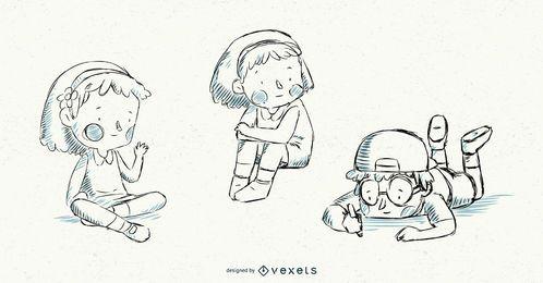 Conjunto de vetores de ilustração de crianças