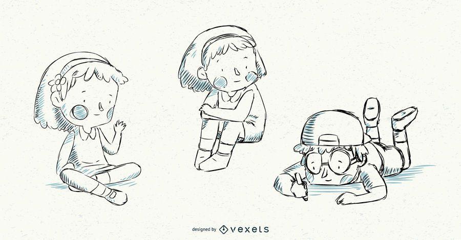 Conjunto de vectores de ilustración de niños