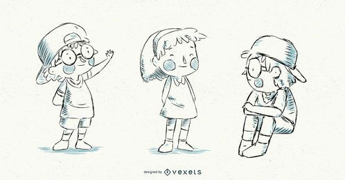 Conjunto de crianças ilustradas Vector