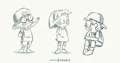 Vector ilustrado conjunto de niños