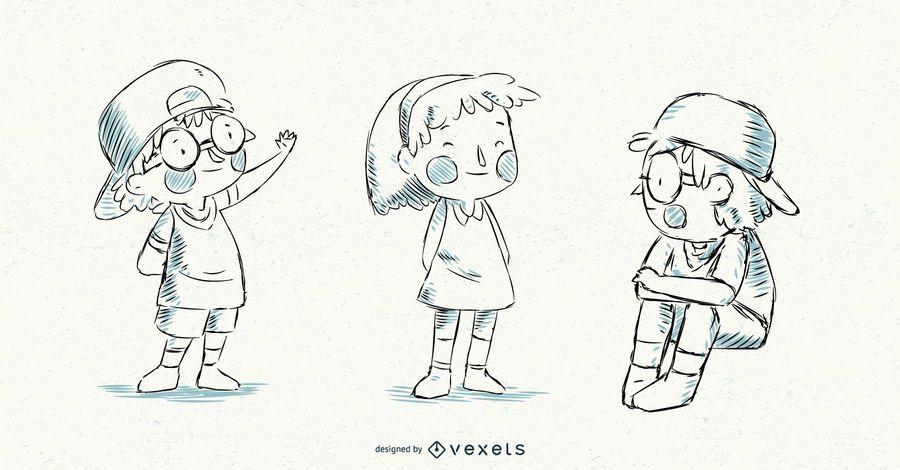 Illustrated Vector Kids Set