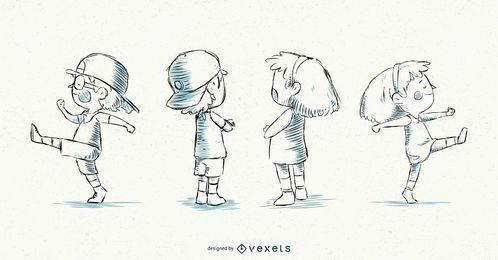 Diseño de ilustración de trazo de niña y niño