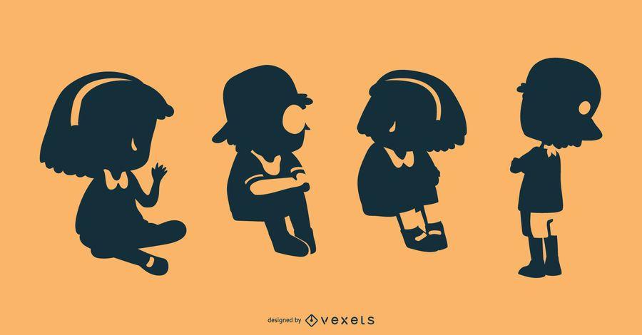 Design de silhueta de crianças
