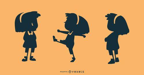 Conjunto de vectores de silueta de niña pequeña