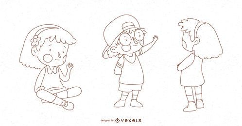 Children Pose Vector Set