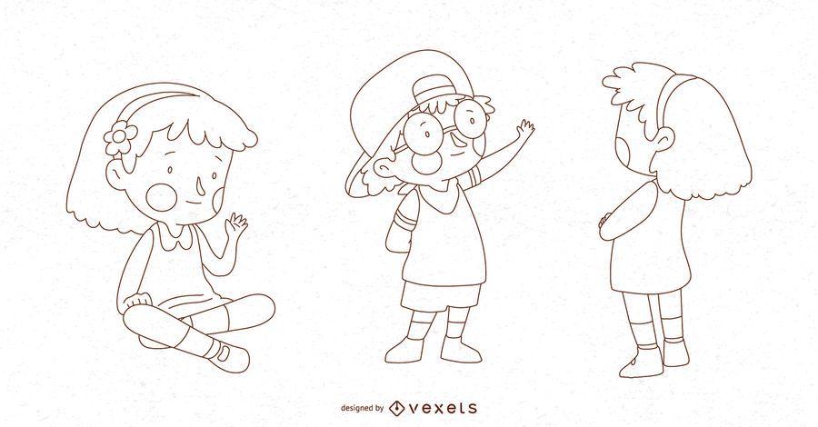Conjunto de vetores de pose de crianças