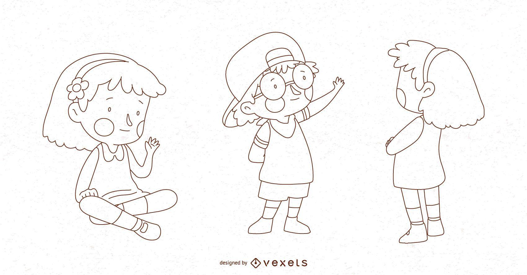 Children Pose Vector Set