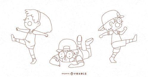 Conjunto de ilustração de poses de crianças