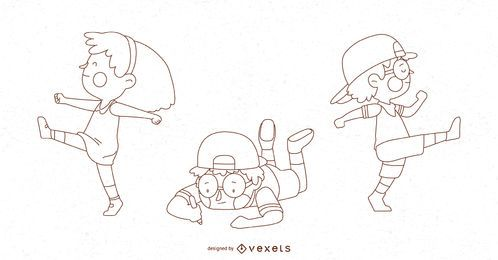 Kids Poses Illustration Set