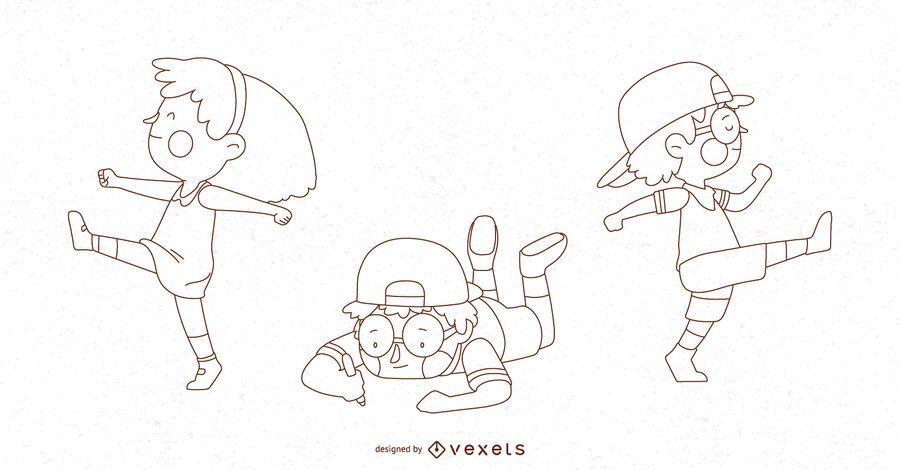 Conjunto de ilustración de Poses de niños